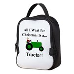 Green Christmas Tractor Neoprene Lunch Bag