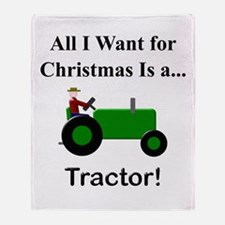 Green Christmas Tractor Throw Blanket