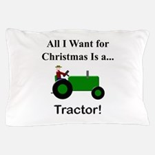 Green Christmas Tractor Pillow Case
