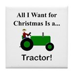 Green Christmas Tractor Tile Coaster