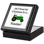 Green Christmas Tractor Keepsake Box
