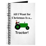 Green Christmas Tractor Journal