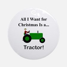 Green Christmas Tractor Ornament (Round)