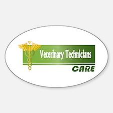 Veterinary Technicians Care Oval Decal
