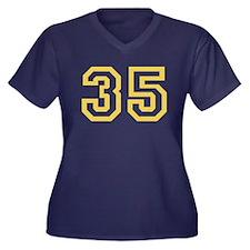 GOLD #35 Women's Plus Size V-Neck Dark T-Shirt