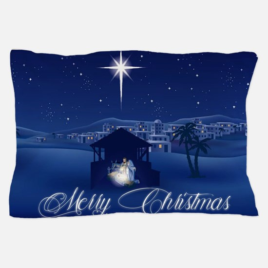 Merry Christmas Nativity Pillow Case