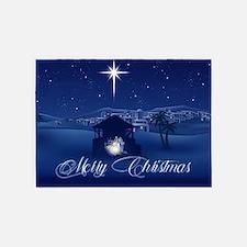 Merry Christmas Nativity 5'x7'Area Rug