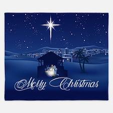 Merry Christmas Nativity King Duvet
