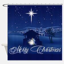 Merry Christmas Nativity Shower Curtain