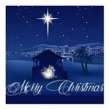 "Merry Christmas Nativity Square Car Magnet 3"" x 3"""