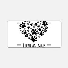 I Love Animals Aluminum License Plate