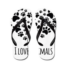 I Love Animals Flip Flops