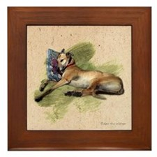 Greyhound and Pillow Framed Tile