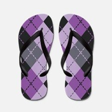 Purple Argyle Design Flip Flops