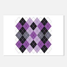 Purple Argyle Design Postcards (Package of 8)