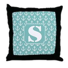Nautical Letter S Monogram Throw Pillow