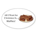 Christmas Waffles Sticker (Oval 50 pk)