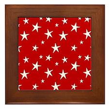 Red with stars Framed Tile