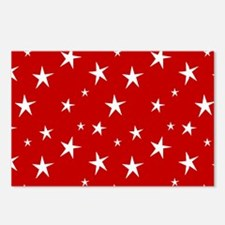 Red with stars Postcards (Package of 8)