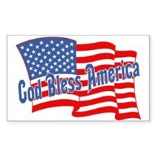 GOD BLESS AMERICA July 4th Rectangle Decal