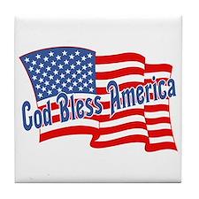 GOD BLESS AMERICA July 4th Tile Coaster
