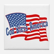 GOD BLESS AMERICA July 4th Tile Coaster