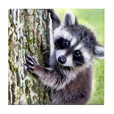 baby raccoon Tile Coaster
