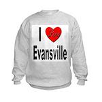 I Love Evansville (Front) Kids Sweatshirt