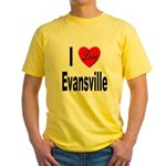 I Love Evansville (Front) Yellow T-Shirt