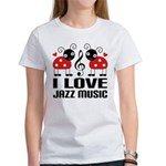I Love Jazz Music Ladybug Women's T-Shirt