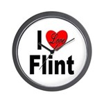 I Love Flint Wall Clock
