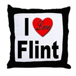 I Love Flint Throw Pillow