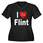 I Love Flint (Front) Women's Plus Size V-Neck Dark