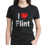 I Love Flint (Front) Women's Dark T-Shirt