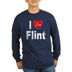 I Love Flint (Front) Long Sleeve Dark T-Shirt