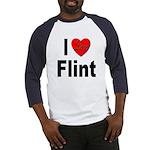 I Love Flint (Front) Baseball Jersey