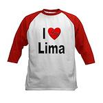 I Love Lima (Front) Kids Baseball Jersey