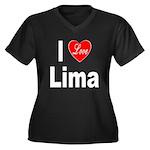I Love Lima (Front) Women's Plus Size V-Neck Dark