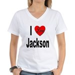 I Love Jackson (Front) Women's V-Neck T-Shirt