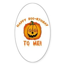 Happy Boorthday Halloween Birthday Oval Decal