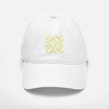 Pale Yellow Geometric Cube Pattern Baseball Baseball Cap