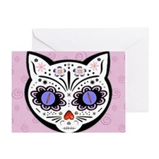 Kitty Kat Sugar Skull Greeting Card
