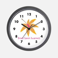 Breast Cancer Awareness Leaf Wall Clock
