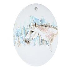 White Horse Ornament (Oval)