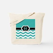 Turquoise Chevron and Monogram Tote Bag