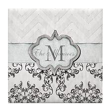 Vintage-look Monogram Design Tile Coaster
