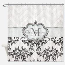 Vintage-look Monogram Design Shower Curtain