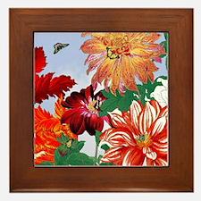Dazzlin' Tulips, Dahlias, B'flies Framed Tile