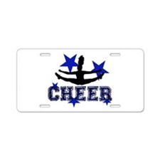 Blue Cheerleader Aluminum License Plate