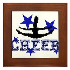 Blue Cheerleader Framed Tile